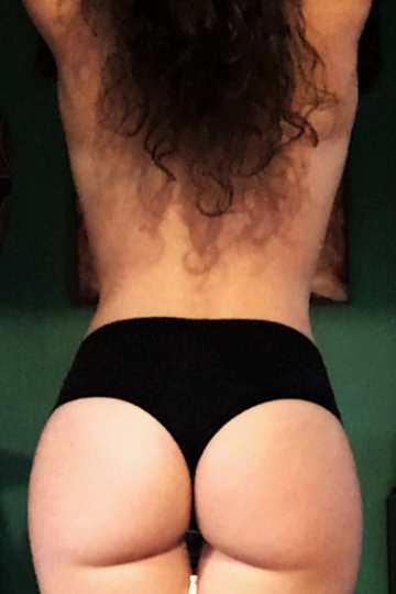 Back view of solid black Onyx Cheeky Undies 90% cotton 10% spandex
