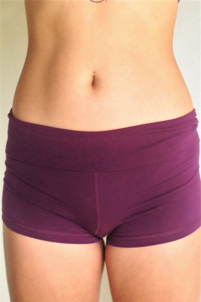 3752bef255 ... Front view of solid Plum purple yoga shorts with fold over waist, can  be worn ...