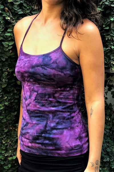 Front view of Purple Haze Tie Dye Shanti Tank Top by Lotus Tribe Clothing with built in bra and spahetti strap in front, stunning back straps design not shown in this image.