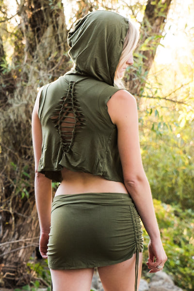 Sage Sleeveless Ninja Wraps come with oversized hood and see thru detail on back. Soft and silky, perfect for layering over a sportbra after yoga class or as streetwear.