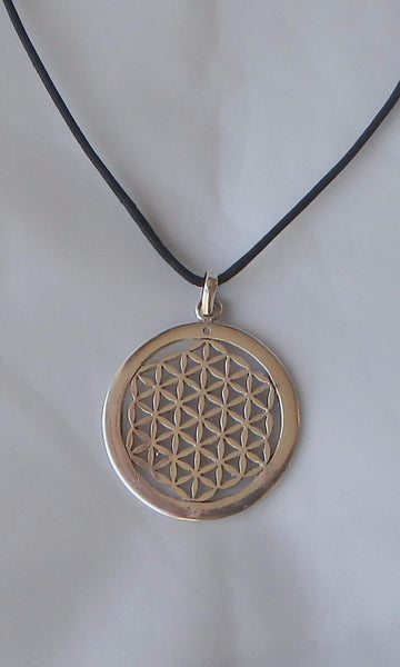 "Silver Flower of Life Sacred Geometry pendent 3.5 cm (almost 1.5"") in diameter, comes on black waxed cotton cord (vegan friendly)."