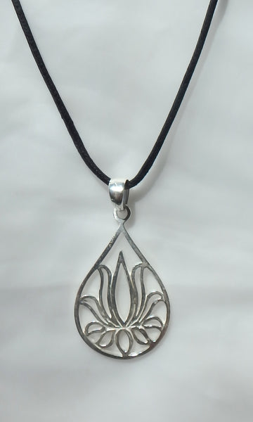 "Teardrop shaped Lotus Flower pendant in silver 1.25"" tall x 1"" wide on black waxed cotton vegan friendly cord."