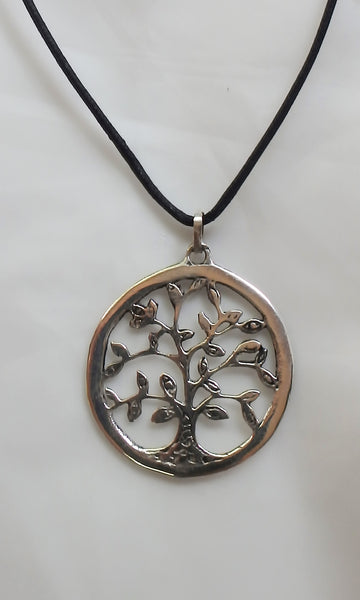 "Silver Tree of Life pendant 1.5"" diameter (3.5 cm) comes on black waxed cotton cord (vegan friendly)."