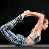 Sodalite tie dye yoga wear two piece outfit made of 90% cotton knit with 10% spandex.