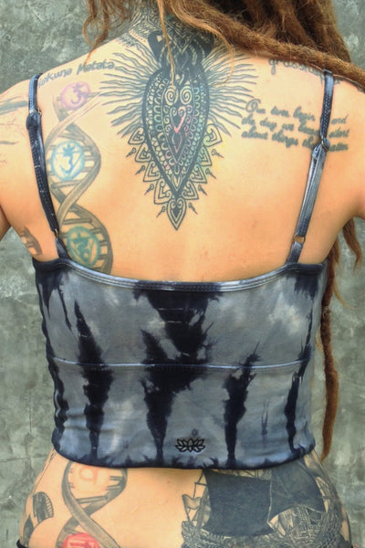Back view of Sodalite tie dye Blissed Out crop tank with spaghetti straps and small Lotus Flower embroidery. 90% Organic cottong with 10% spandex.