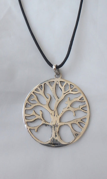 "Silver Tree of Life pendant 1.75"" diameter (just over 4cm) comes on black waxed cotton cord (vegan friendly)."