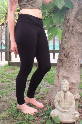 Onyx Long Yoga Pants with Fold Over Waist