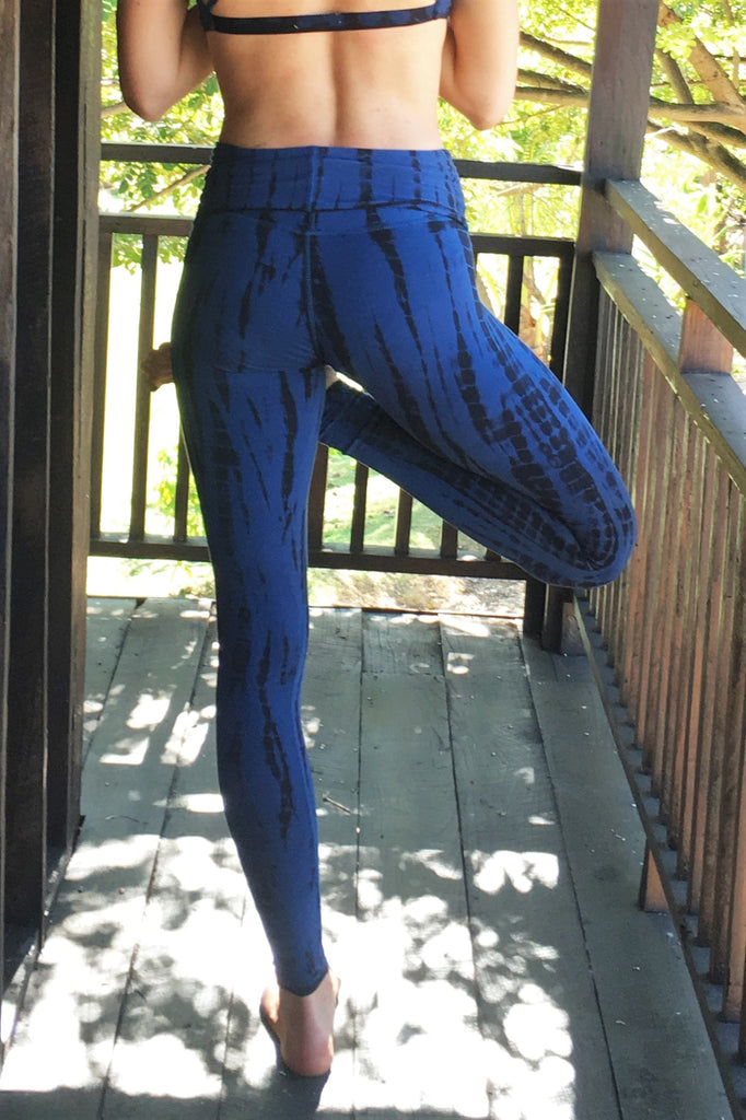 0027ab72ea89f Midnight tie dye, blue with black long length yoga pants with fold over top  for ...