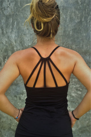 Back view of black Onyx Tank Top with beautiful back strap design.