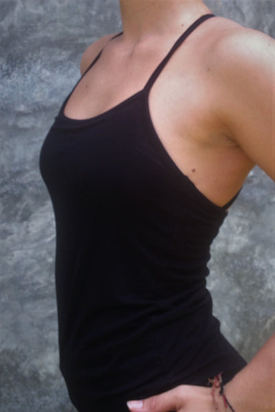 Side view of black Onyx Tank Top with spaghetti straps.