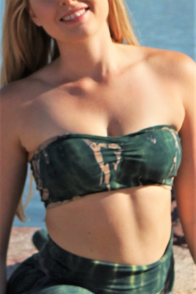 Front view of strapless Bandeau Top with center scruching between the breasts in Rainforest tie dye, deep green hues with beige streaks and yellow highlights. 90% Organic Cotton with 10% Spandex