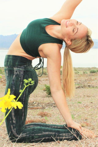 Gorgeous green tie dyed pants look like the rainforest. Made of 90% Organic Cotton knit with 10% Spandex to make a high quality super soft Yoga Pant with fold over waist that can be worn high or folded over lower on the hips.