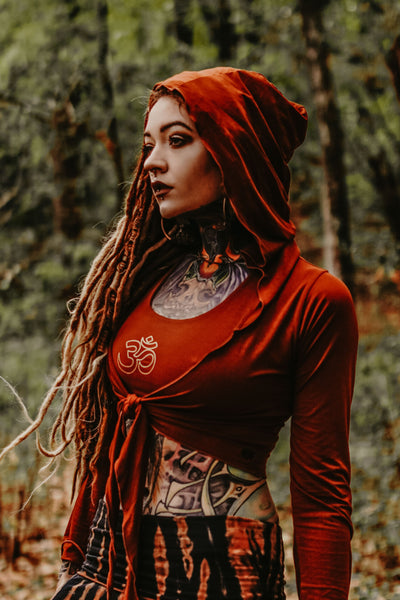 Long Sleeve Rust Ninja Jacket Wraps come with oversized hood and see thru detail on back. Soft and silky, perfect for layering over a sportbra after yoga class or as streetwear