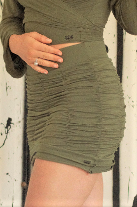 Stretchy, flattering & comfortable Sage green mini skirt with ruffled scrunchy look. Form fits to any body shape, great for the curvy girls!  90% cotton 10% spandex