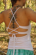 Back view of crisp white tank top with lace up tie back by Lotus Tribe Clothing