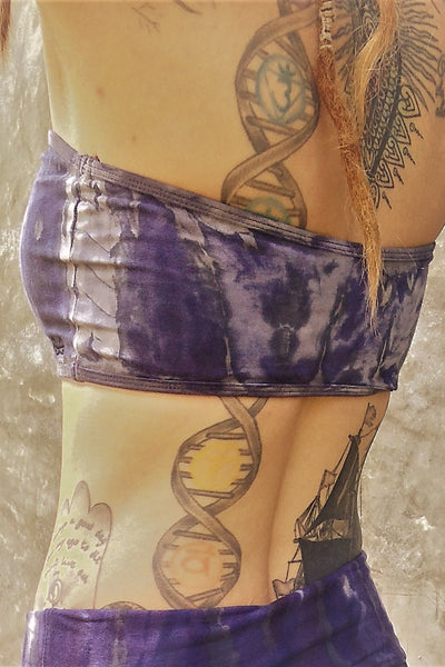 Side and back view of strapless Bandeau top in Wildflower tie dye. Cool purple hues with grey streaks and white highlights. Made of 90% Organic Cotton and 10% spandex.