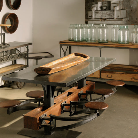 Urban Vintage Lunchroom Table with 6 wooden swinging seats ~ Free Shipping