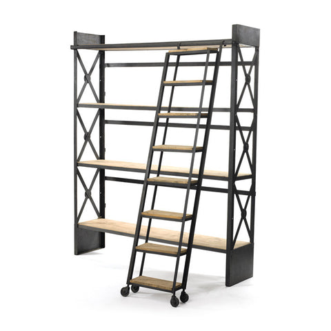Loft Library Bookcase With Rolling Ladder A Must Have Piece ~ Free Shipping