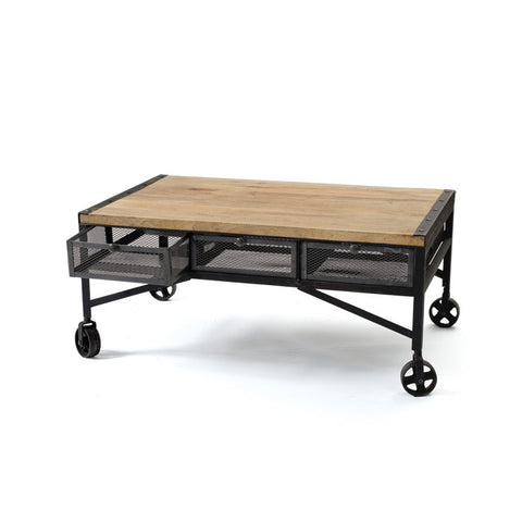 Throwback Coffee Table with Industrial Wheels ~ Free Shipping