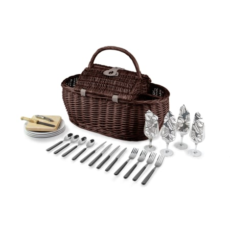 Deluxe Picnic Straw Picnic Basket with Round Top for Four  ~ Free Shipping