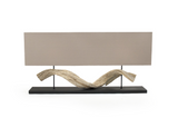 Coralie Lamp A rectangular minimalist lamp with driftwood feature, iron base and fabric shade ~ Free Shipping