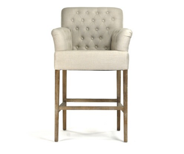 Groovy Barrois Linen With Burlap Back Tufted Bar Stool Free Shipping Beatyapartments Chair Design Images Beatyapartmentscom