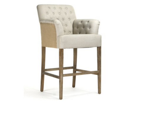 Magnificent Barrois Linen With Burlap Back Tufted Bar Stool Free Beatyapartments Chair Design Images Beatyapartmentscom