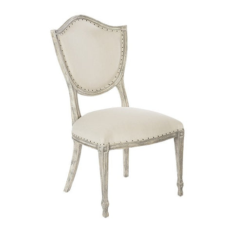 SHIELD BACK DINING CHAIR IN LINEN/CANE BACK ~ Free Shipping