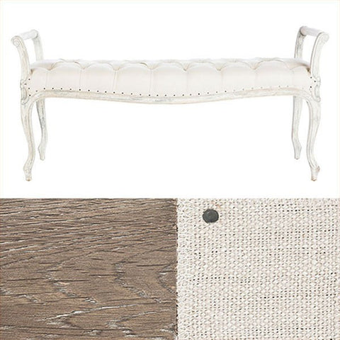 LAURIE BENCH (LONG) IN LINEN ~ Free Shipping