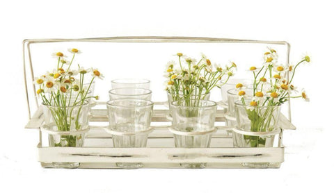 Beautiful Drinking Glass Set,  Set of 12 with decorative carrying holder for picnics, tealights or flower display ~ free shipping