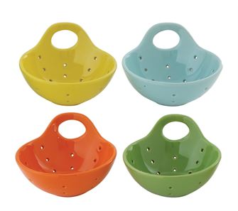 Colorful Berry Bowls with handles  - Set of Four ~ free shipping