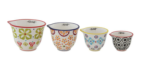 Colorful Hand-Painted Stoneware Measuring Cups in Floral patterns - Set of Four  ~ free shipping