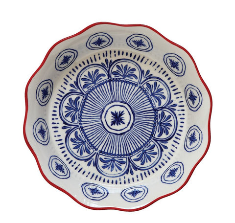 "Blue and Red  Summertime 10"" Round Hand-Stamped Stoneware Pie Dish ~ free shipping"