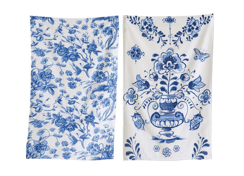 "Tea Towel Set of Two Blue and White 28 "" L x 18"" W ~ free shipping"