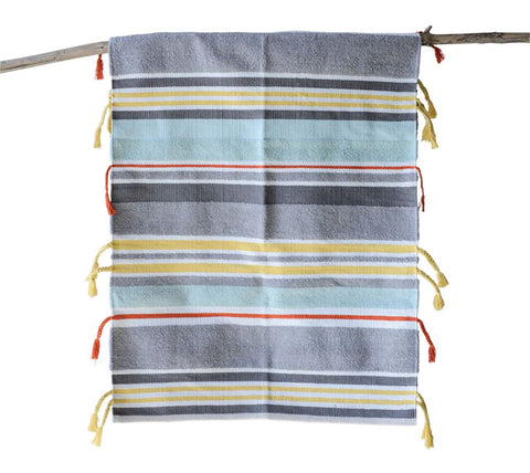 Striped Rug with shades of Blue and Yellow - Cheerful kitchen or bath rug ~ free shipping