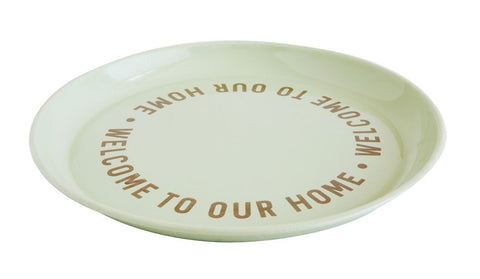 """Welcome to our Home"" 14 1/2"" Round Enameled Tray  ~ free shipping"
