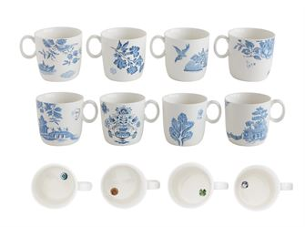 Blue and White Lovely  Stoneware Coffee or Tea Mugs Floral patterns - Set of Four ~ free shipping