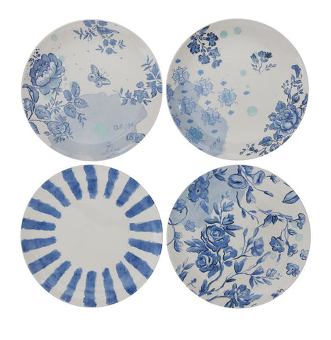 "Blue and White Lovely  Stoneware 11"" Plates - Set of Four ~ free shipping"