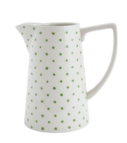 "Stoneware Pitcher with Green Polka Dots ~ Cheerful Kitchen or Bath Small FAVE 6""L x 4""W x 6""H  ~ free shipping"