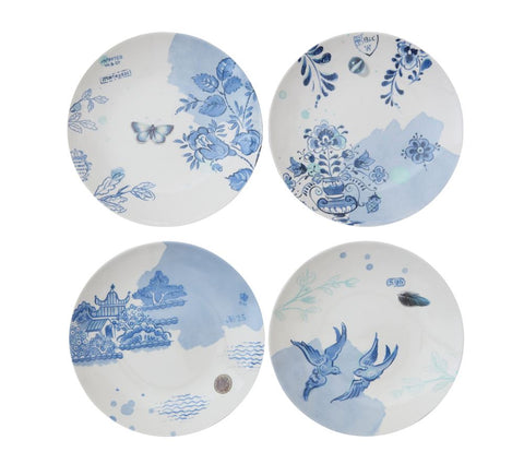 "Blue and White Lovely  Stoneware 8"" Plates - Set of Four ~ free shipping"