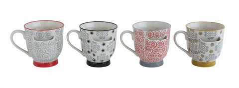 Colorful Coffee Mugs with Tea Bag Holder - Set of Four ~ Free Shipping