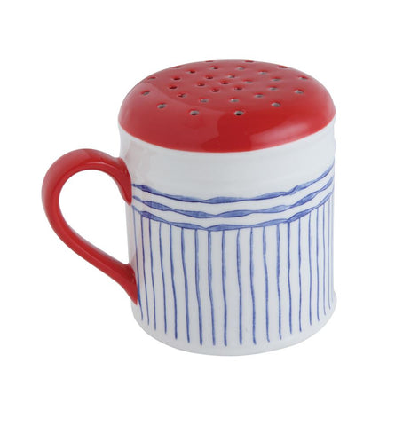 Blue and Red Stoneware Sugar Shaker  ~ free shipping