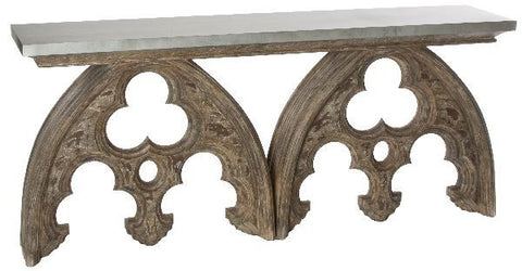 ARCHED CATHEDRAL TABLE WITH TIN TOP ~ Free Shipping