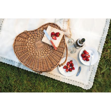 Heart Shaped Picnic Woven Deluxe Basket  ~ Free Shipping