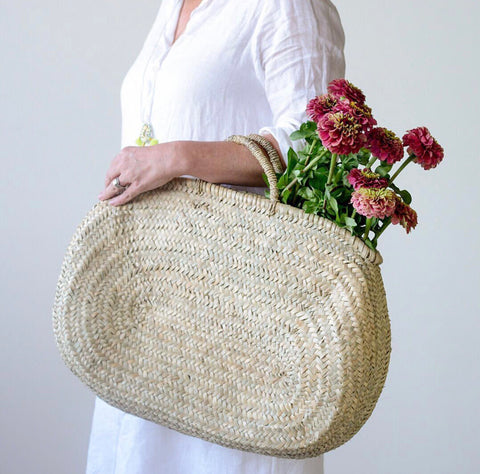 Handwoven straw tote bag Jerada Oval Bag w/ Handle