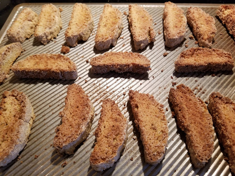 Biscotti on a baking sheet