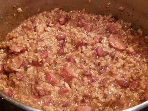Pot of rice, beans and sausage