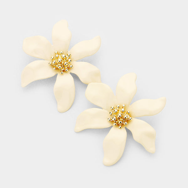 Large Flower with Gold Earrings - Ivory