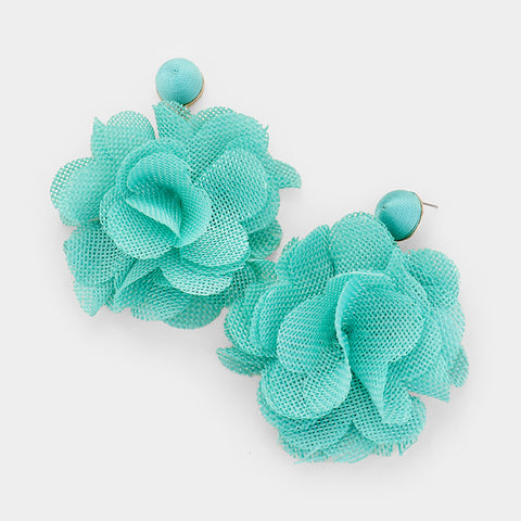 Flower Pom Pom Earrings- Turquoise