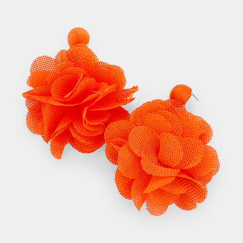 Flower Pom Pom Earrings- Orange